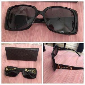 Gucci Black and Gold Horsebit Sunglasses